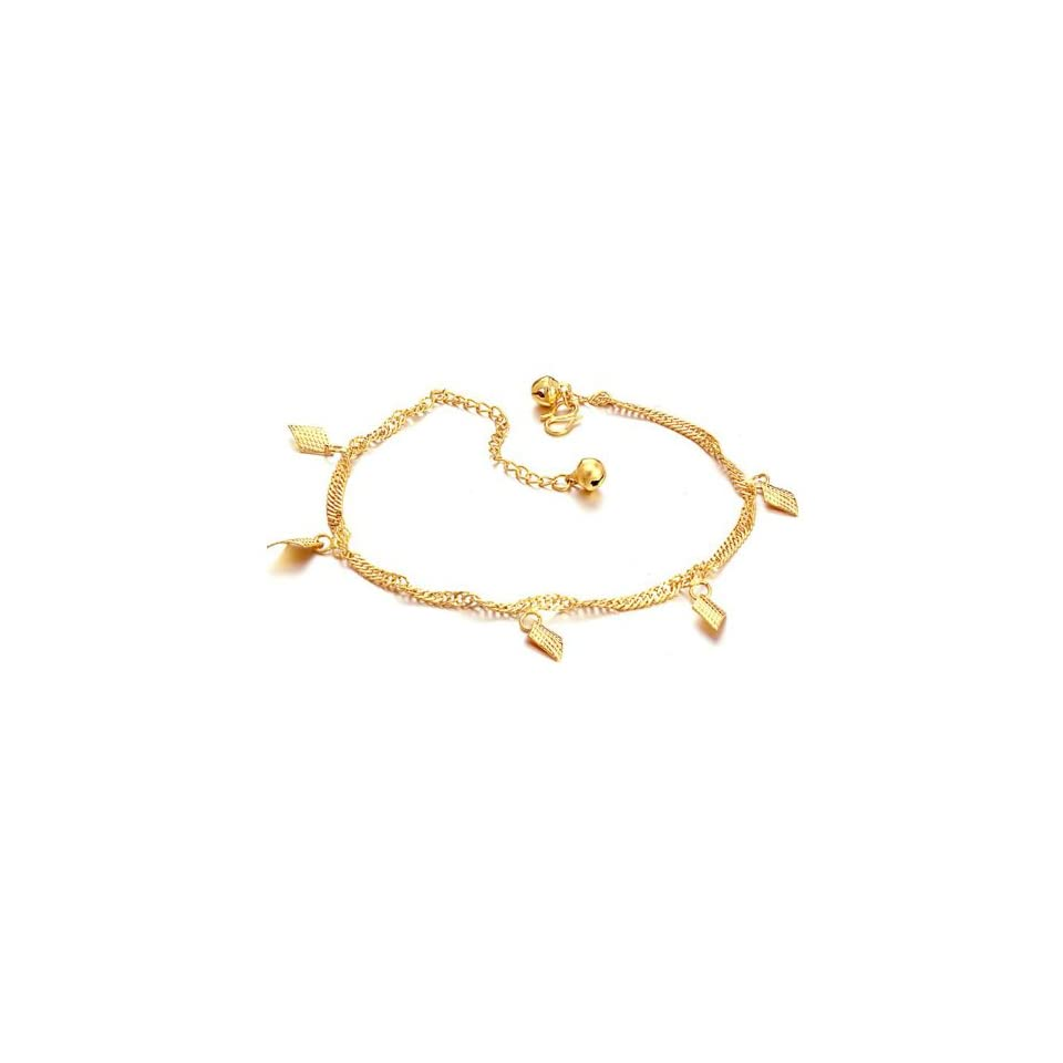 Opk Jewelry18k Yellow Gold Plated Pendant Anklet Charm Gold Chain Ankle Bracelet