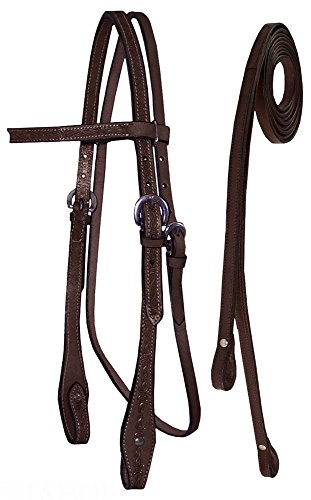 Tahoe Tack Barbwire Hand Tooled Draft Headstall with Split Reins, Mahogany, Draft