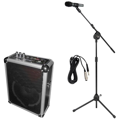 Pyle Mic And Speaker Package - Pwma160 Dual Channel 400 Watt Wireless Pa System W/Usb/Sd,2 Vhf Wireless Microphones (1 Lavalier, 1 Handheld) - Pmksm20 Microphone And Tripod Stand With Extending Boom & Mic Cable Package For Performances, Performers, Singer