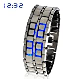 Blue Led Digital Lava Iron Style Metal Sports Watchby Accenter