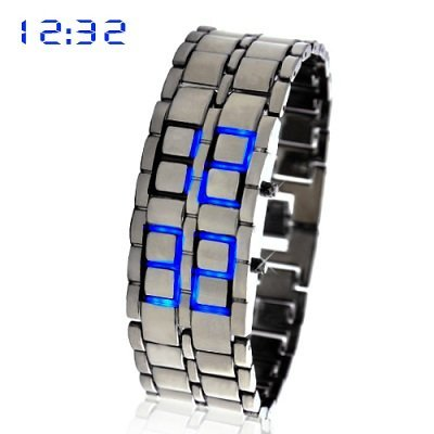 Blue Led Digital Lava Iron Style Metal Sports Watch
