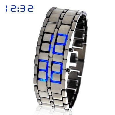 Blue Led Digital Lava Iron Style Metal Sports Watch