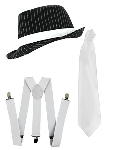 Ilovefancydress Men's Gangster Set Fancy Dress Accessory Costume Deluxe Kit Pinstripe Trilby Hat + White Braces + White Tie Mob Gangster Men Al Capone