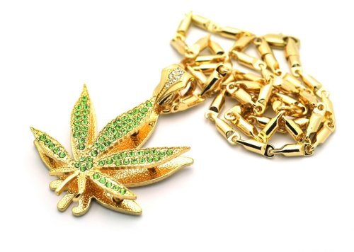 Small Gold with Green Iced Out Marijuana Pendant with a 24 Inch Box Chain Necklace