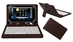 ACM PREMIUM USB KEYBOARD TABLET CASE HOLDER COVER FOR BASLATE 72S With Free MICRO USB OTG - BROWN