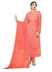 Rozdeal New Peach Nazneen Chiffon Designer Dress Material
