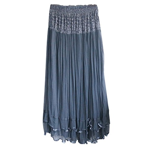 DEHANG Womens Boho Lace Gauze Double Layer Elastic Waist Long Maxi Skirt Grey One free size