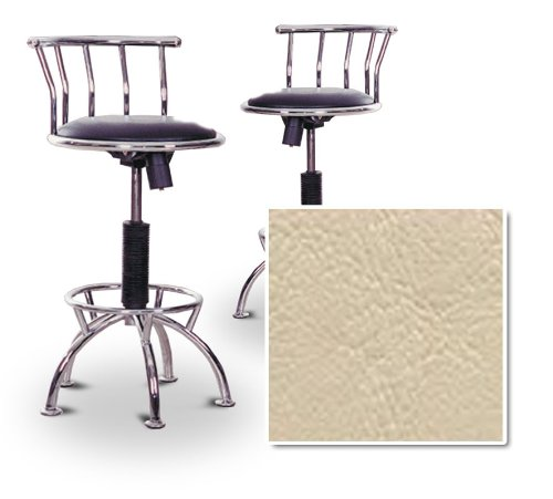 "2 24""-29"" Beige Vinyl Seat Chrome Metal Adjustable Custom Barstools (Seabrook Stinger Bisque)"