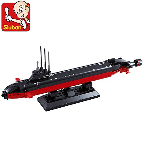 Sluban-Simple-Package-Military-Aircraft-Carrier-Series-Building-Bricks-Toy-Set-for-Kid-Compatible-Construction-Blocks-1350-Nuclear-Submarine-with-tray-193-Pcs