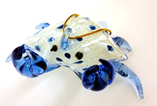 Blue Glass Crab Christmas Ornament, Glows in the