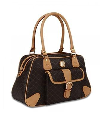 Signature brown satchel organizer by rioni designer - Organizer purses and handbags ...