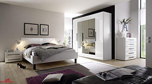 Schlafzimmer 540544 komplett 4-teilig mit Doppelbett und Kleiderschrank weiß Hochglanz bestellen