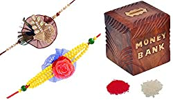 JaipurCrafts Rakhi Celebrations Combo Of 2 Rakhi, Roli Tika & Wooden Money Bank
