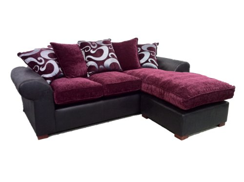 barcelona chaise corner sofa in aubergine on black buy