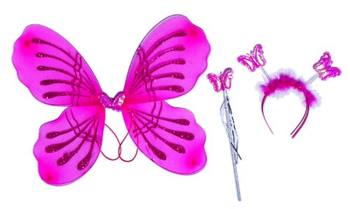 Girl Costume: Butterfly Wing Set with Magic Wand & Headpiece (Antennas) 3 Piece Set