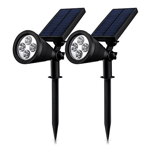 (2 PACK)Mpow Soleil P2 Solar Lights Landscape Lighting Solar Powered Super-Bright Spotlights Day/Night Auto-on/off Sensor Battery-Free Outdoor Waterproof Wireless Security Night Lighting for Path Driveway Backyards Gardens Lawn