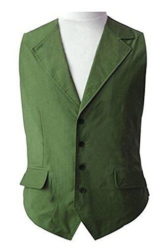 [Dben Mens Cosplay Joker Green Vest Halloween Cosplay Costume] (Captain Ron Halloween Costume)