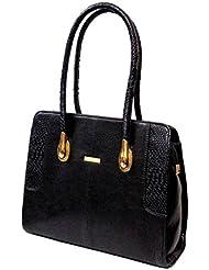 AYS Black Colour Faux Leather Women's Office Handbag Shoulder Bag Wallets