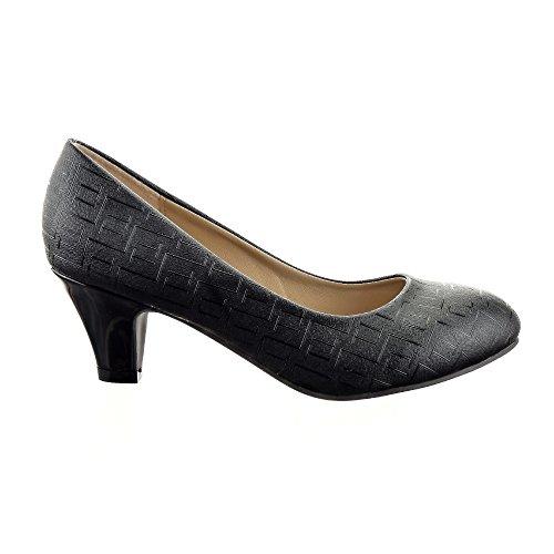 Sopily - Scarpe da Moda scarpe decollete Stiletto decollete alla caviglia donna Moderno Lines Tacco a cono 5.5 CM - Nero CAT-XH925 T 39 - UK 6