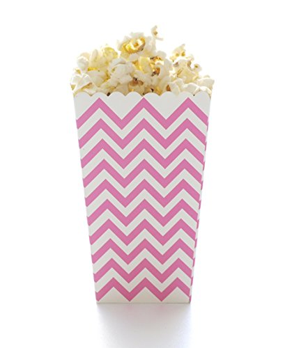 Pink Chevron Popcorn Boxes, Hot Pink (12 Pack) - Zigzag Movie Theater Style Popcorn Cartons for Wedding Favors & Candy Buffets (Theater Style Popcorn Bags compare prices)