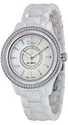 Christian Dior VIII White Mother of Pearl Dial Ceramic Ladies Watch CD1245E9C001