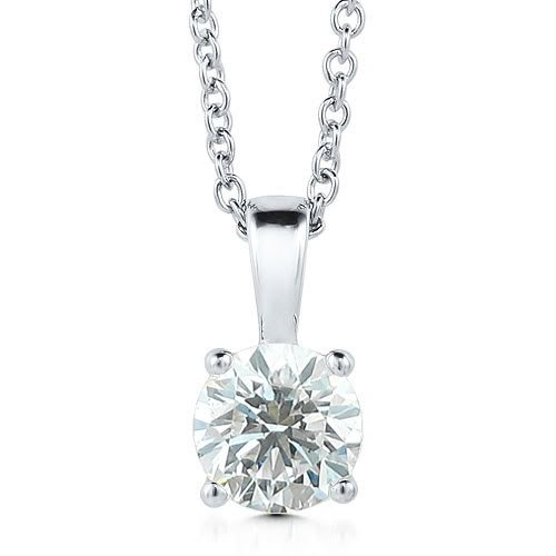 14k White Gold 4-Prong Solitaire Natural Diamond