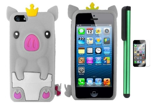 =>  White Cute Pig Yellow Crown Silicone Skin Premium Design Protector Soft Cover Case Compatible for Apple Iphone 5 (AT&T, VERIZON, SPRINT) + Screen Protector Film + Combination 1 of New Metal Stylus Touch Screen Pen (4