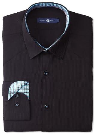 Stone Rose Men's Texture Button Down Woven Dress Shirt, Black Waffle, 5