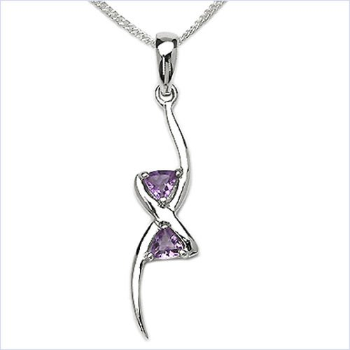 Jewelry-Schmidt-Collier / Necklace with Amethyst pendant 925 Silver Rhodium