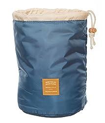 Di Grazia Stylish Barrel Shape, Multifunctional Men Womens Travel Organiser, Cosmetics Storage Drawstring Bag - Blue