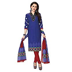 Rajnandini Women's Blue pure cotton Printed Unstitched salwar suit Dress Material (Free Size)