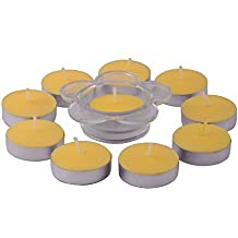 Giftadia Fancy 10 Pcs Lemon Scented Tealight Candles With Holder Set (GS-189) Yellow (LBH 24 X 13 X 2.5 Cm)