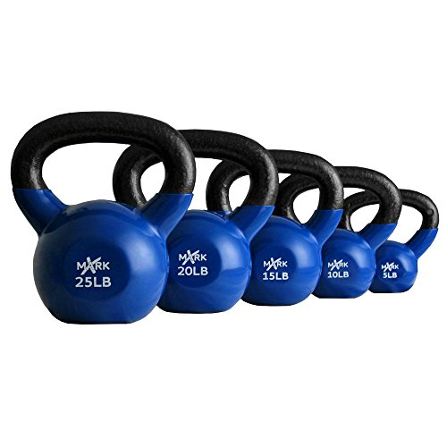 XMark Vinyl Coated Kettlebell Set (5 - 25 -Pounds)