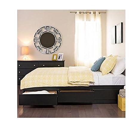 Yaletown Black Double/Full 6-drawer Platform Best Storage Bed