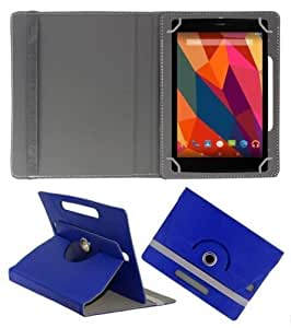 Artellect 360° Rotating Leather Flip Cover Case With Stand For Micromax Canvas Tab P290 (Royal Blue)