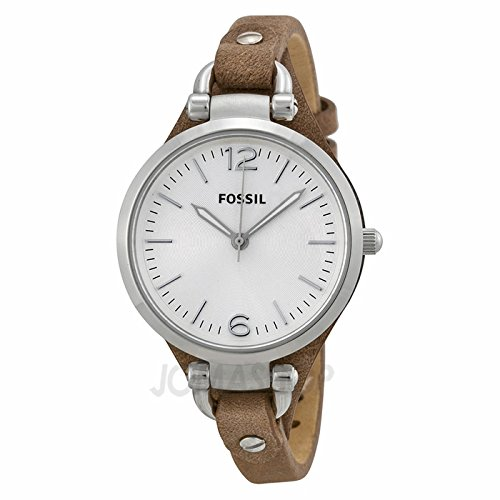 Fossil Fósiles Georgia Plata Dial Bronceado Cuero Damas Reloj ES3060