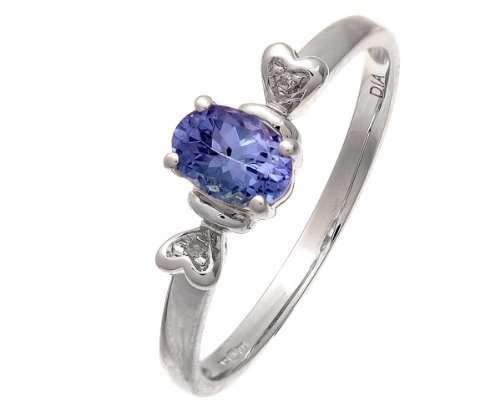 9ct White Gold Tanzanite Ring With Diamond Set Heart Shoulders - Size K