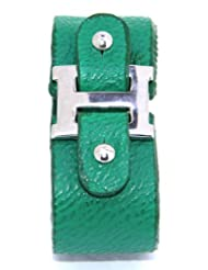 Forest Green Leather Look Adjustable Funky Cuff Mens Sporty Wrist Band From Lazreena