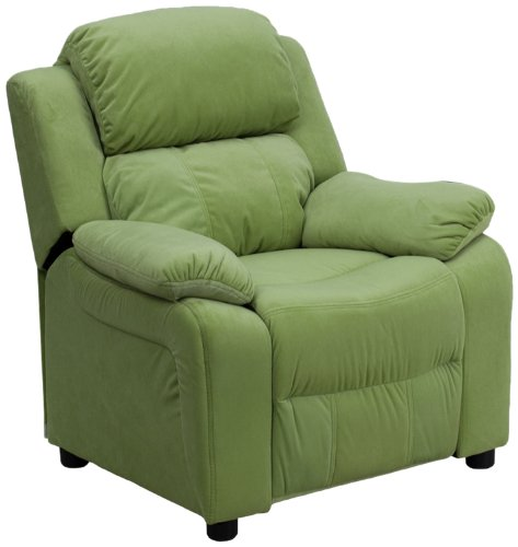 Flash Furniture BT-7985-KID-MIC-AVO-GG Deluxe Heavily Padded Contemporary Avocado Microfiber Kids Recliner with Storage Arms (Microfiber Storage compare prices)