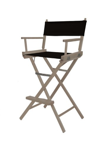 Telescope Casual Heritage Bar Height Director Chair, Rustic Grey Finish With Black Canvas Fabric