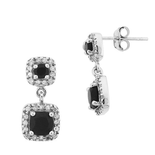 Sterling Silver Black Spinel and Cubic Zirconia Double Square Drop Post Earrings