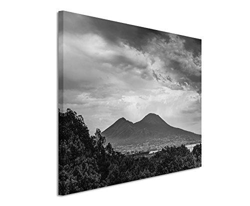 50x70cm Leinwandbild schwarz weiß in Topqualität Neapel Italien Berg Vulkan