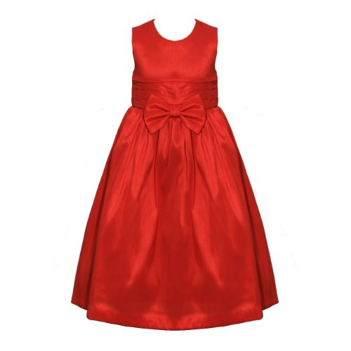 LG New Girls Red Bow Layered Belt Bridesmaid Communion Sleeveless Prom Dress 18/24 Months-9/10 Years