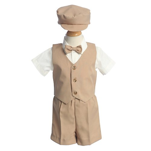 Lito Baby Boys Khaki Vest Short Hat Easter Suit Set 12M