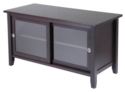 Winsome Wood TV Stand  Glass Sliding Doors, Espresso