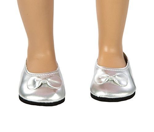 Springfield Collection by Fibre-Craft - Silver Ballet Flats - Fits All 18-Inch Dolls - Mix and Match - For Ages 4 and Up