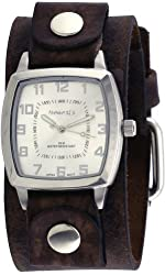 Nemesis #NFB017S Men's Vintage Square Collection Brown Wide Leather Band Watch