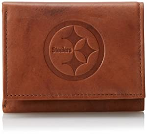 NFL Pittsburgh Steelers Embossed Genuine Cowhide Leather Trifold Leather Wallet