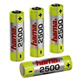 Hama Rechargeable NiMH Batteries; Nickel Metal Hydride; 2500 mAh; 1.2 V; 4 pcs; 30 g; AA Mignon (00087057)