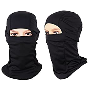 [2 PACK] Multi-Purpose Sports Balaclava - For Winter and Summer Use - Offers Wind and UV Protection - Fits Under Any Helmet - Can Be Used As Ski Mask, Motorcycle Mask, Face Mask - One Size Fits All - 100% Durable Polyester - Lifetime Warranty (Black + Bla